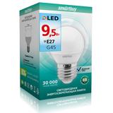 Светодиодная (LED) лампа Е27 Шар 9,5Вт 4000К Белый свет Smartbuy-G45-9,5W/4000/E27 (SBL-G45-9_5-40K-E27) Матовая колба