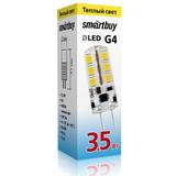 Светодиодная (LED) лампа G4 Капсула 3,5Вт 12В 3000К Теплый свет Smartbuy-G4-3,5W/3000/G4 (SBL-G4 3_5-30K) Прозрачная колба