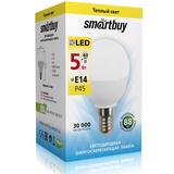Светодиодная (LED) Лампа Е14 Шар 5Вт 3000К Теплый свет Smartbuy-P45-05W/3000/E14 (SBL-P45-05-30K-E14) Матовая колба