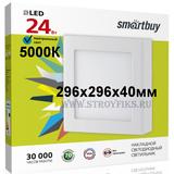 Светильник светодиодный накладной IP20 24Вт 5000К Холодный белый свет 296х296х40мм Квадрат Square SDL Smartbuy-24w/5000K/IP20 (SBL-SqSDL-24-5K)