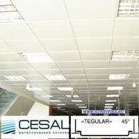 Металлический кассетный потолок с кассетой Cesal K45 Tegular 45° Белая матовая 595х595мм