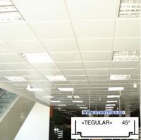 Металлический кассетный потолок с кассетой Tegular 45° Белая матовая 595х595мм