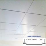 Металлический кассетный потолок с кассетой Tegular 90° Белая матовая 595х595мм